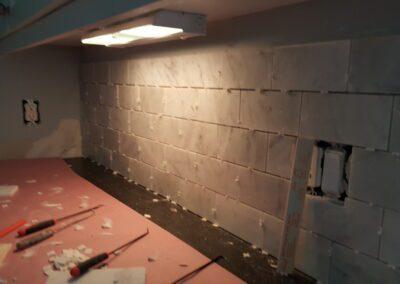 This is a kitchen tile backsplash project in Old Fort Cape Elizabeth Me