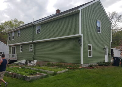 This is an exterior painting project in Saco ME
