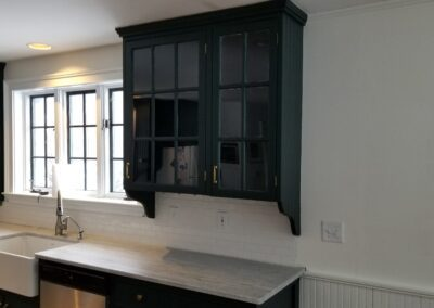This is a kitchen cabinet painting project in Longwoods Rd Cumberland Me